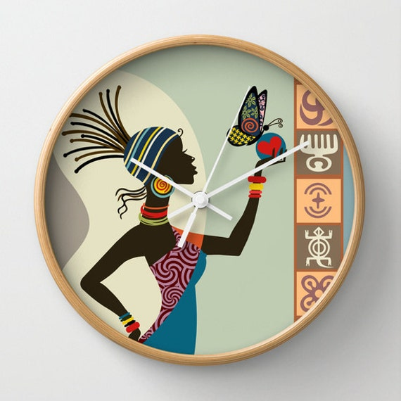Cute Afrocentric Wall Clock, African Woman Wall Clock, African Wall Decor, Afrocentric Decor, African Inspired Clock, Adinkra Symbols