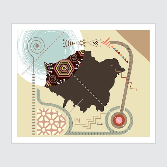 London Map Art, City Poster Abstract Travel Print
