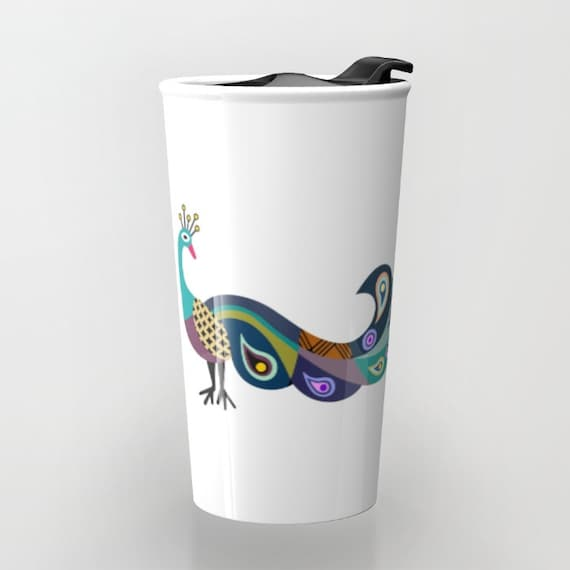 Peacock Coffee Mug, Cute Peacock Travel Mug,  Peacock Art Gift,  Peacock Mug, Bird Mug, Bird Lover Gift, Travel Gift