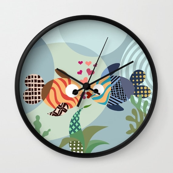 Lovers Clock, Kissing Fish Decor Wedding Gift Valentine Day