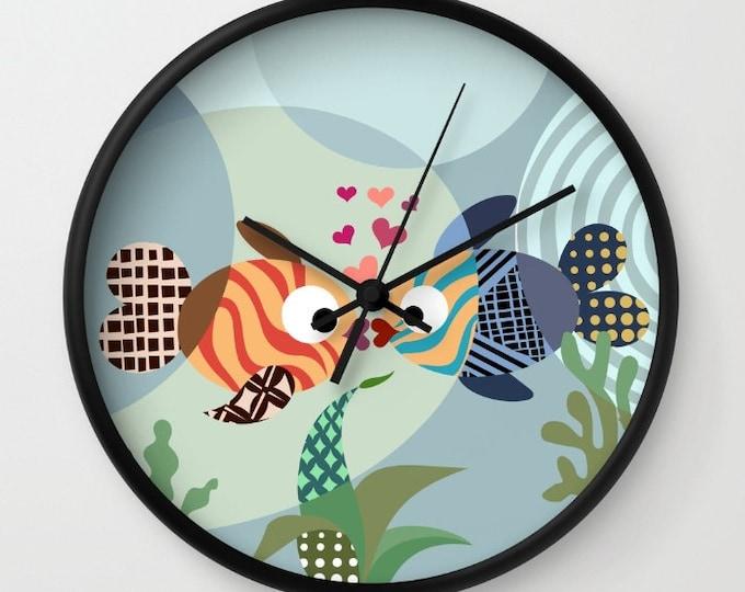 Lovers Clock, Kissing Fish Decor Wedding Gift Valentine Day