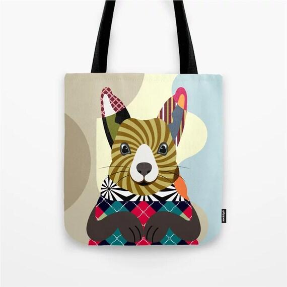 Squirrel Tote Bag, Animal Canvas Shoulder Strap Bag