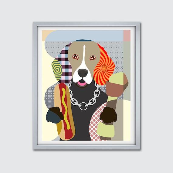 Beagle Dog Art Print, Hipster Dog Wall Art Funny Pet Portrait