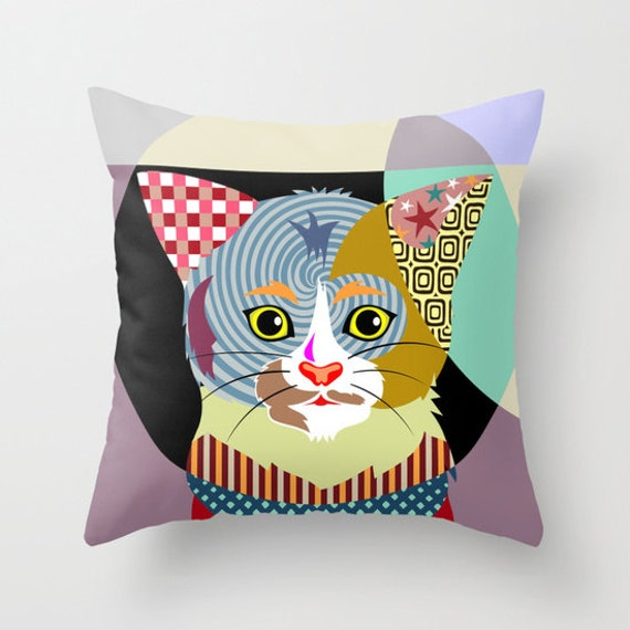 Cat Pop Art Pillow, Cat Lover Gift, Animal  Cute Throw Pillow, Cat Throw Pillow Cover, Decorative Throw Pillows