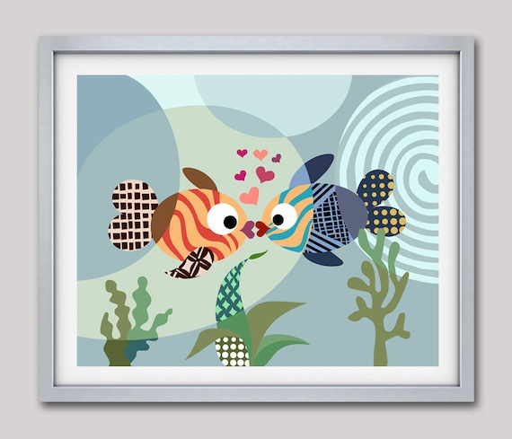 Fish Decor, Fish Art Print, Love Art Print, Fish Poster, Fish Painting, Kissing Fish, Girls Room Art, Girls Wall Art