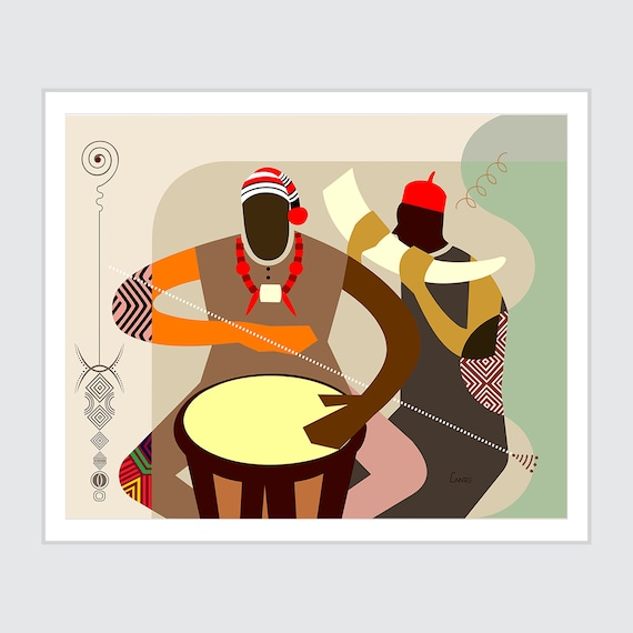Igbo Art Biafra Gift, Traditional African Print, Black Music Painting