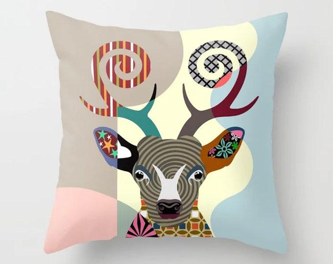 Deer Throw Pillow, Reindeer Cushion Farmhouse Decor