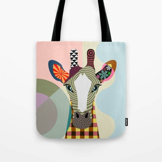 Giraffe Tote Bag, Animal Tote Decorative Giraffe Bag, Giraffe Lovers Gift Tote Bag, Animal Lovers Gift