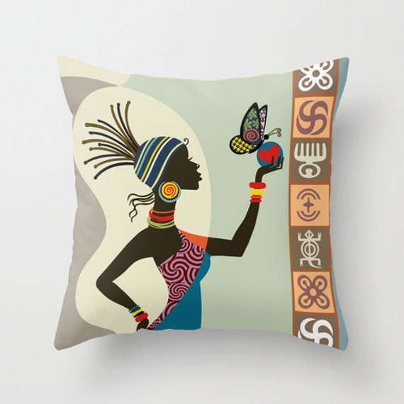 African Woman Decorative Pillow, Afrocentric Decor Pillow, African CuteThrow Pillow,  African Home Decor
