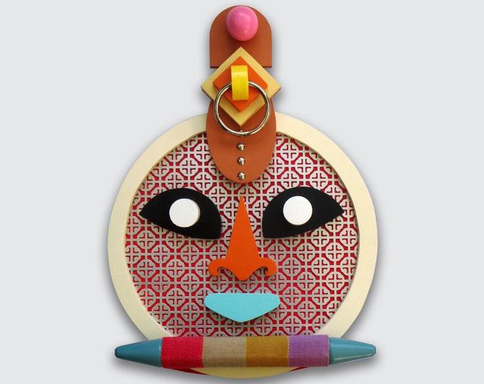 African Mask Sculpture, Mixed Media Wooden Original Cubist Art