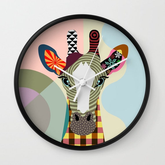 Giraffe Wall Clock, Giraffe Gift, Giraffe Print, Giraffe Decor, Giraffe Design, Giraffe Art, Giraffe Painting, Giraffe Drawing