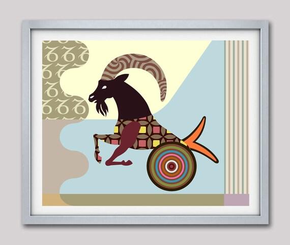 Capricorn Star Sign Poster, Goat Gift, Capricorn Gift, Capricorn Print Wall Art, Zodiac Art Print, Zodiac Gift, Horoscope Gifts