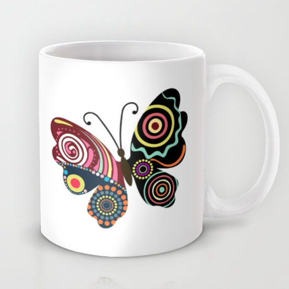 Butterfly Mug, Cute insect Mug Ceramic Mug, Tea Mug, Unique Drinking Coffee Mug,  Cool Coffee Mug