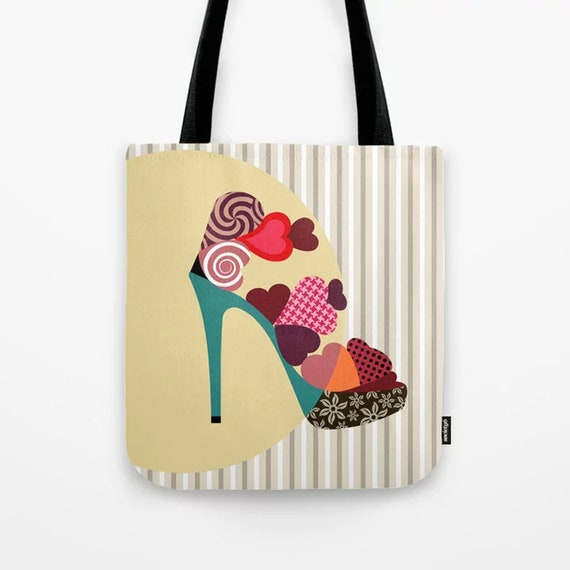 Shoe Tote Ladies Canvas Bag, Valentine Gift For Her