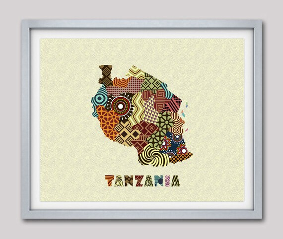 Tanzania Map Art Print Wall Decor, Tanzania Poster, Dodoma Tanzania African Art Print, African Map Poster