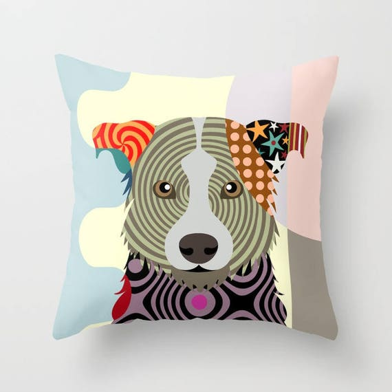 Border Collie Pillow, Border Collie Dog, Border Collie Print, Animal Pillow, Pet Gifts, Pet Pillow, Dog Lover Gift, Animal Print