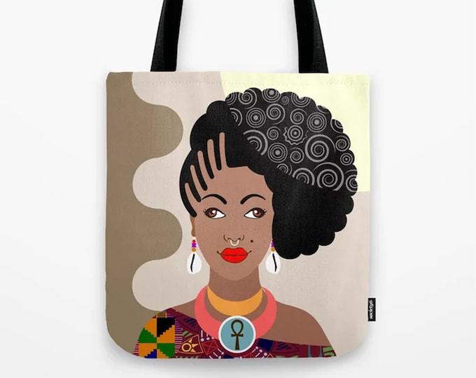 African Tote Bag,  Black Woman  Natural Hair