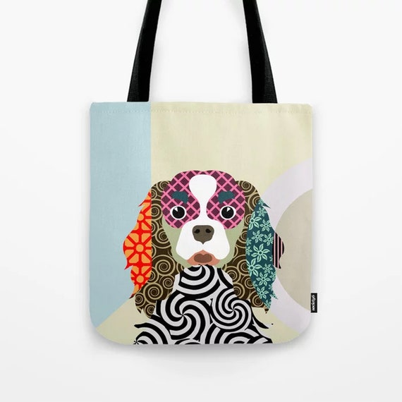 Cavalier King Charles Bag, Colorful Dog Tote