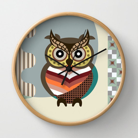 Owl Wall Clock, Cute Owl Home Decor, Owl Wall Hanging, Wise Owl Decor, Kids Wall Clock, Nursery Clock Owl, Girls Room Decor