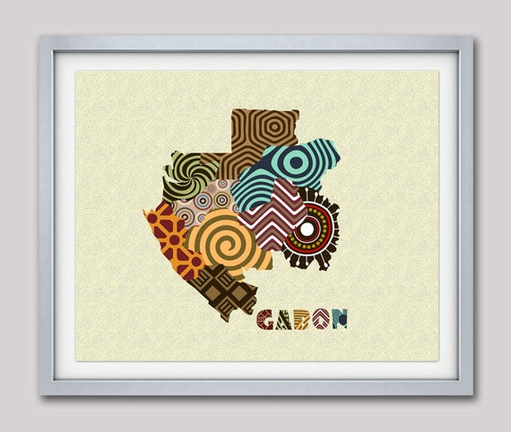 Gabon Map Art Print Wall Decor, Gabon Poster, Libreville Gabon West-Central Africa, African Art Print, African Map Poster