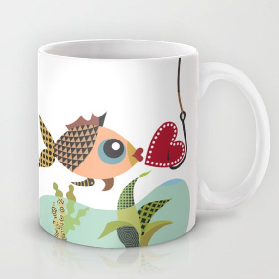 Love Mug,  Valentines Day,  Fish Mug,  Love Gift,  Coffee Love Gift Mug, Fish Hook Charm, Fish Lover,  Gift For Couples