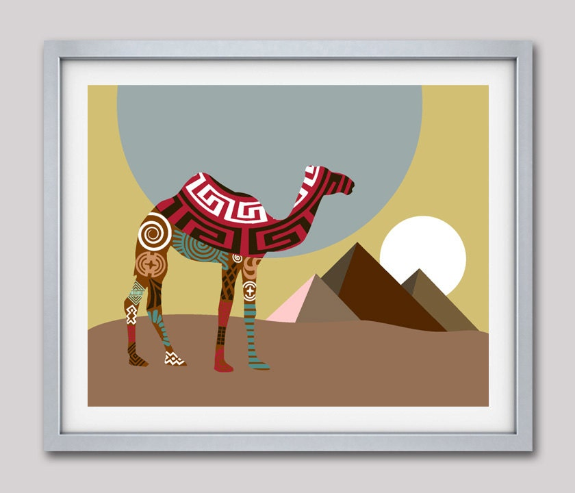 Camel Art Print, Afrocentric Painting, Camel Painting, Egyptian