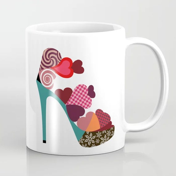 Shoe Mug Heart Ceramic Cup, Valentine Gift For Her