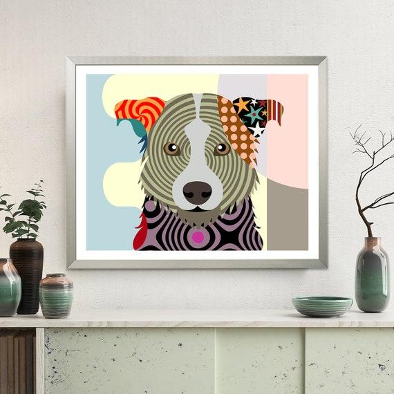 Border Collie Art, Pet Art Illustration Animal Print