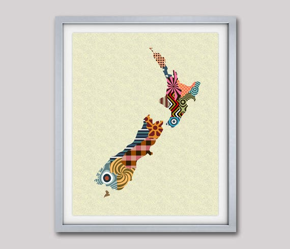 New Zealand Map, New Zealand Art Print, New Zealand Gift,  New Zealand Painting, New Zealand Print, New Zealand Poster,  Wellington NZ