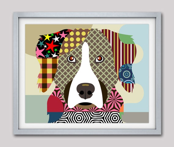 Bernese Mountain Dog, Bernese Mountain Dog Poster, Bernese Mountain Dog Print, Dog Poster, Dog Painting, Dog Portrait