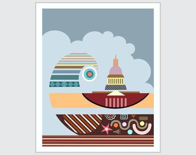 Capitol Hill Washington DC  Landmark State Poster