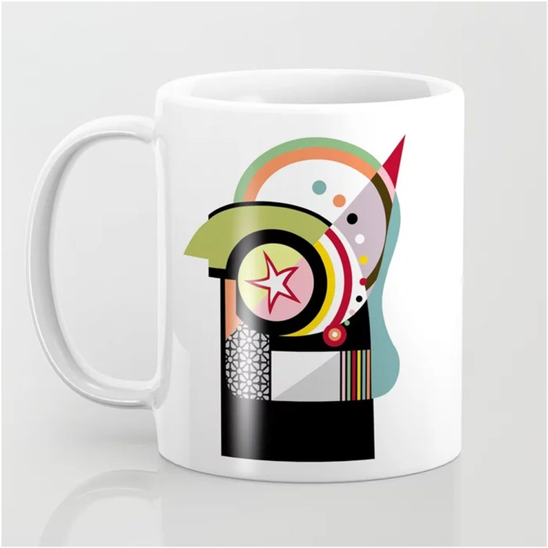 Geometric Mug Abstract Printed Cup Ceramic image 0