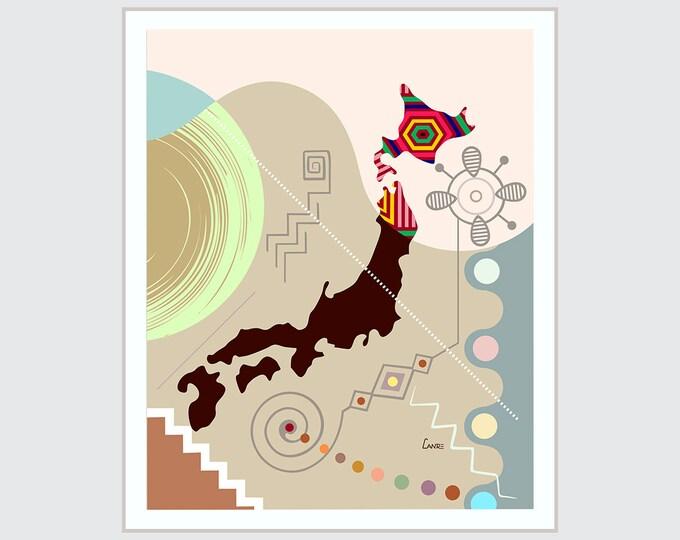 Japan Map Print, Tokyo Poster Abstract City Art