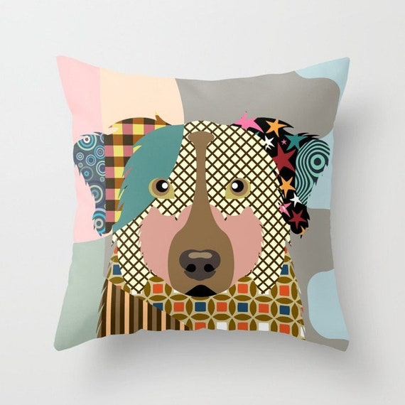 Aussie Pillow, Australian Shepherd Pillow, Aussie Gifts, Dog Lover Gift, Aussie Print, Dog Pillow