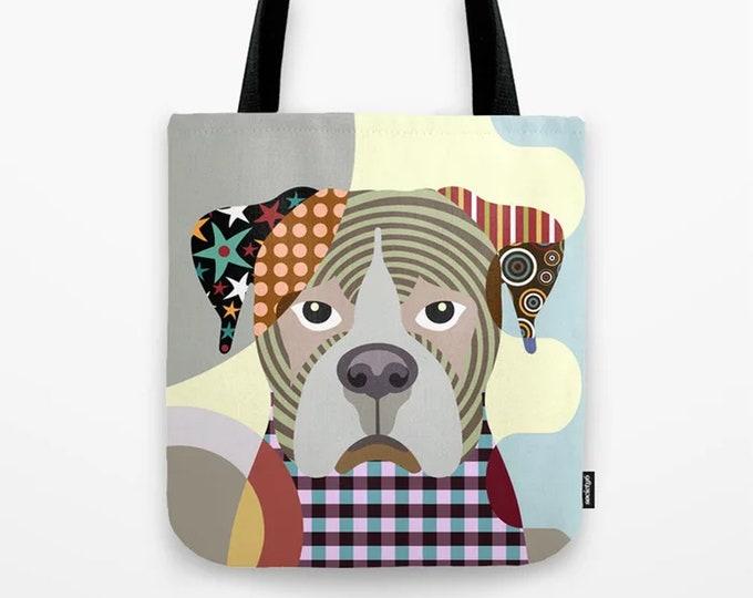 Boxer Tote, Dog Printed Canvas Bag  Doggy Sack