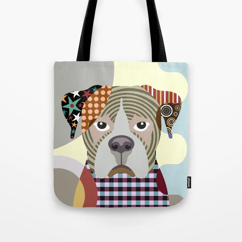 Boxer Tote Dog Printed Canvas Bag  Doggy Sack image 0