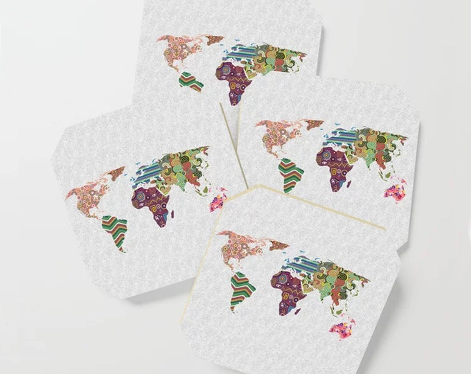 World Map Coasters, Drink And Barware Travel Art Gift