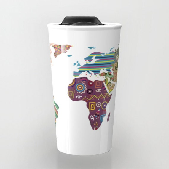 World Map Travel Mug, Cute Travel Mug,  Metal Mug, Unique Coffee Mugs,  Tea Mug, Travel Gift