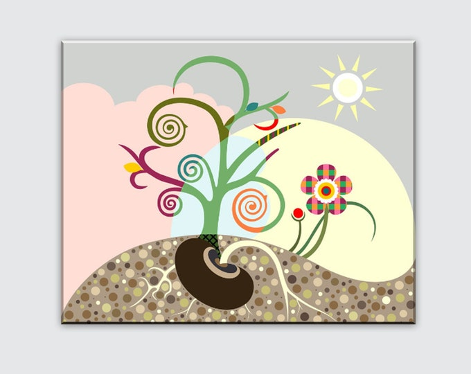 Abstract Tree Art Inspirational Canvas Print Tree Of Life Canvas Cubist Flower Décor
