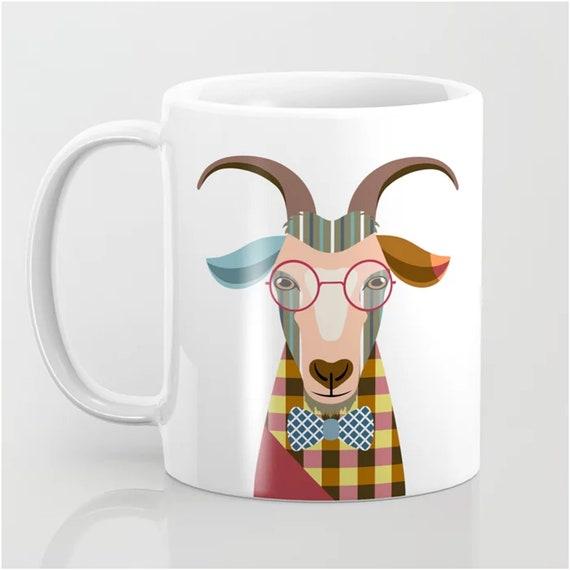 Goat Mug, Farm House Ceramic Coffee Cup Hipster Animal Print