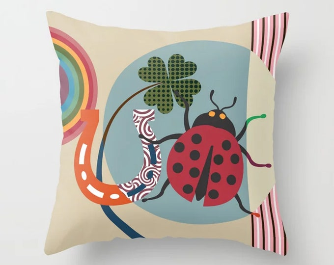 Good luck Charm Gift, Ladybug Pillow Ladybird Cushion