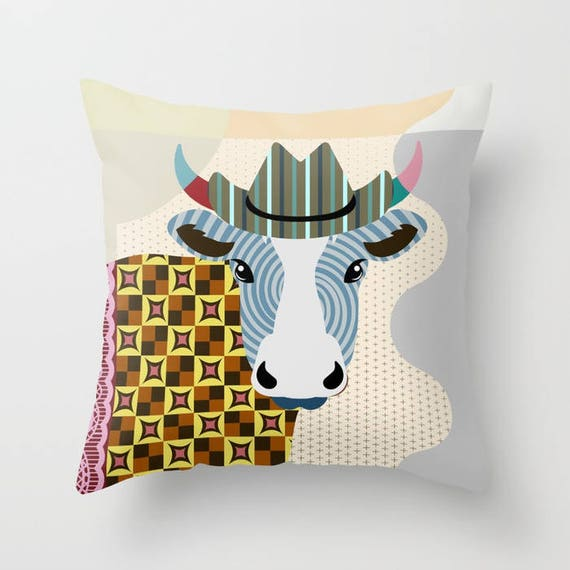 Cow Pillow, Cow Gifts, Cow Art, Animal Pillow,  Farm Animal Pillow, Cow Lovers Gift, Cow Print, Cow Decor, Animal Portrait