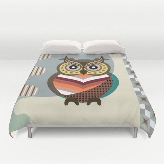 Owl Bedding, Owl Bedroom Decor, Bird Bedding, Wise Owl Decor, Queen Duvet Cover, Full Duvet Cover, King Duvet Cover