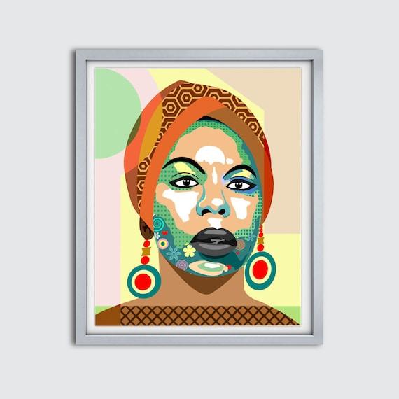 Nina Simone Poster, Political Activist Singer Soul R B Folk Blues Jazz,  Vintage Music Art Print,  Music Legend Print,  Retro Music Poster