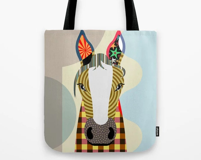 Horse Tote, Farm Animal Bag Printed Canvas Sack