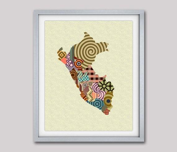 Peru Map, Peru Art, Map of Peru, Peruvian Decor, Peru Poster, Lima Peru Latin America, South America