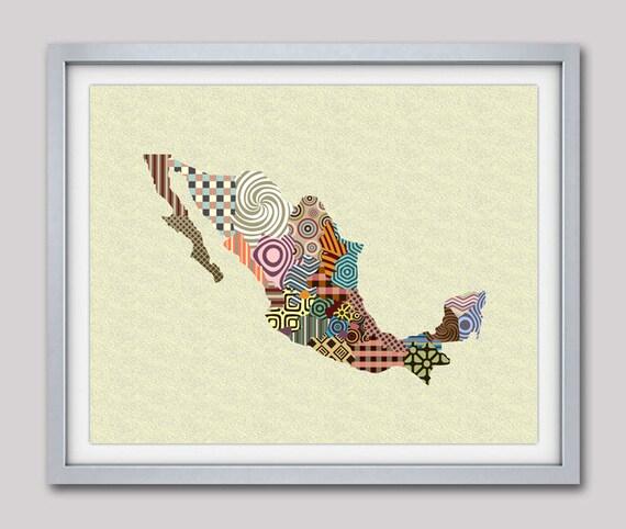 Mexico Map, Mexico City Map, Mexico Poster, Mexico Wall Art, Mexico Travel Art Painting, Mexico Wall Decor, Mexican Art