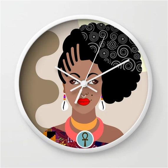 Black Diva Art Clock, African Woman Gift