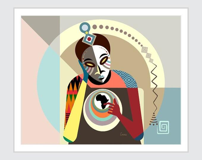 Black Conscious Art Abstract Painting, Original African American Kwanzaa Decor, Afrocentric Nigerian print