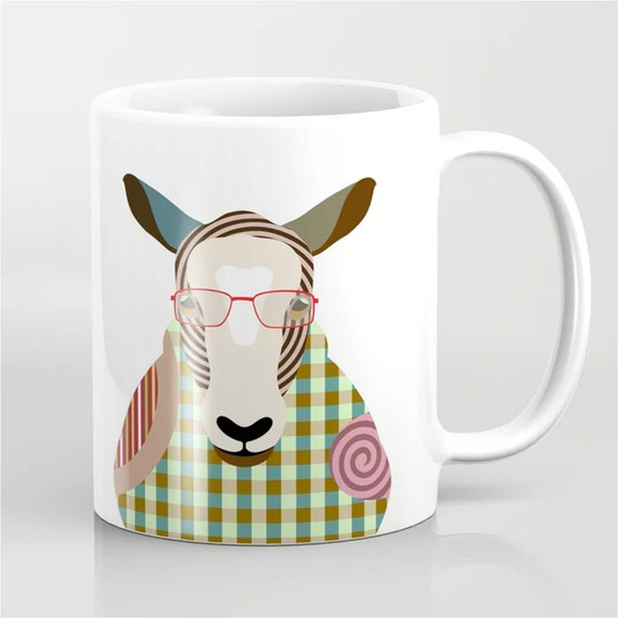 Sheep Mug, Lamb humor Farm Animal Gift Ceramic Cup